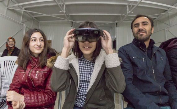 Turkish student tries the HoloLens