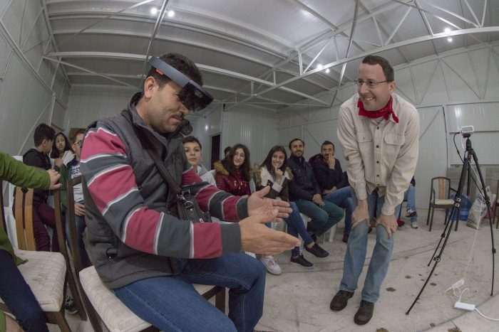 Dr. Branting introduces the HoloLens to Turkish students
