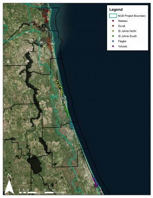 Ground-truthing locations for oyster mapping study