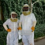 Jen and Eric in Bee Suits