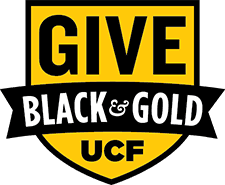 Gold Shield with text that says GIVE BLACK & GOLD UCF