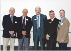 Opening of the Psychology Building – from left to right: Dr. Robert Dipboye – then Chair of Psychology Dr. Richard Tucker – Psychology Professor and Former Chair, Psychology (Retired), LIFE at UCF Dr. John Hitt, President, UCF Dr. Peter Panousis – Former Dean, College of Sciences Dr. Jack McGuire – Associate Dean, COS and Psychology Professor