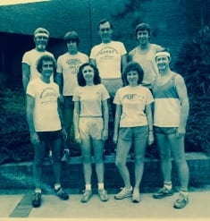 8 members of the Psychology Department [all joggers at the time] From Top Left: Burt Blau, Randy Fisher, Dave Abbott, Wayne Burroughs; Bottom Left: Dick Tucker, Peggy Thomas, Marilyn Zegman, Jack McGuire