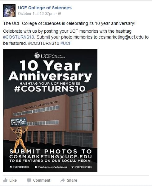 The UCF College of Sciences Facebook page promotes the #COSTurns10 celebration.