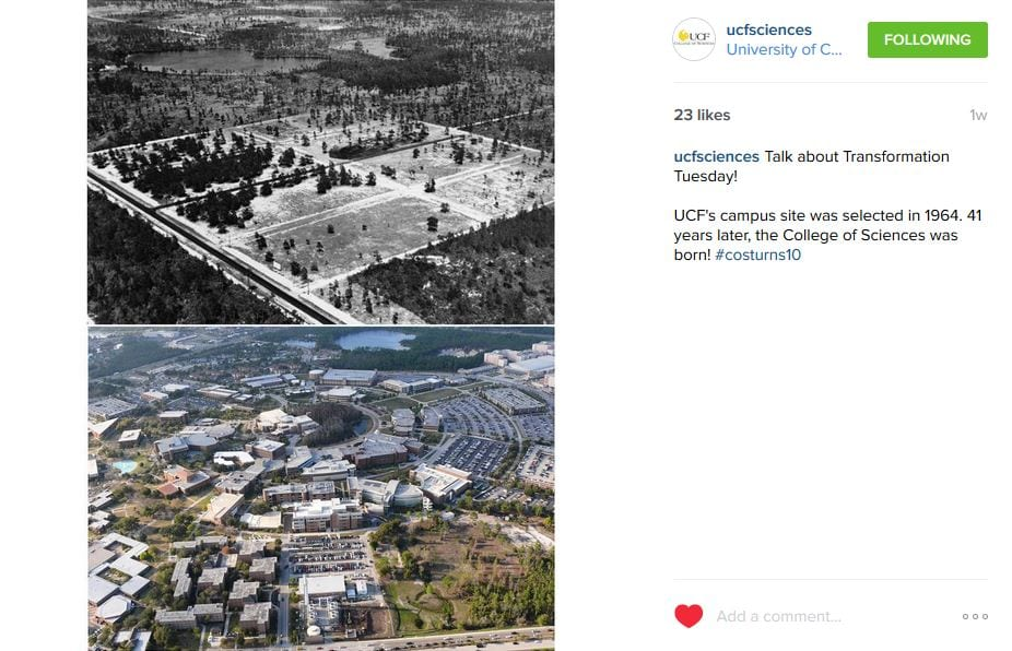 @UCFSciences posts on its Instagram page for #COSTurns10.