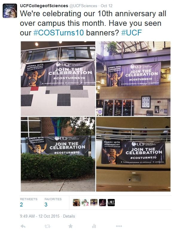 @UCFSciences tweets about #COSTurns10 banners across campus.