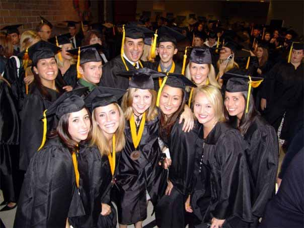 Tiffany Anthony (center of front row) with the rest of her graduating class at UCF in 2007.
