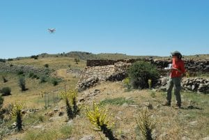 Susan Penacho Flying the Drone over the city wall at Kerkenes