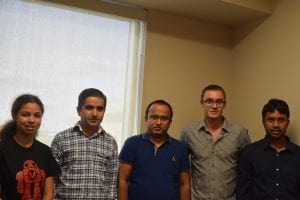 Figure 1Research team members of Dr. Neupane at UCF from left to right: Taiason Cole (Undergraduate student), Dr. Madhab Neupane, Gyanendra Dhakal (Graduate student), Klauss Dimitri (Undergraduate student), Md Mofazzel Hosen (Graduate student)