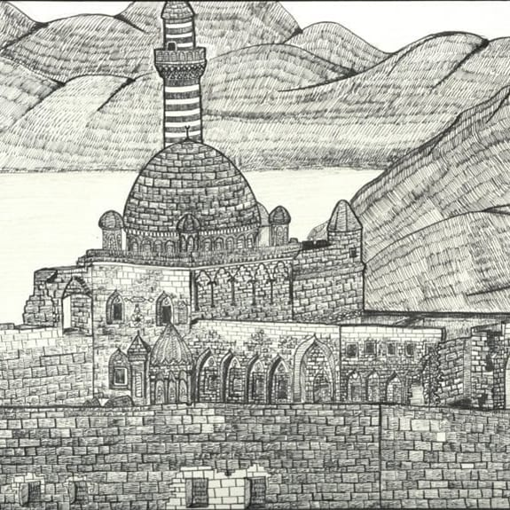 Hand drawing of Kurdish castle